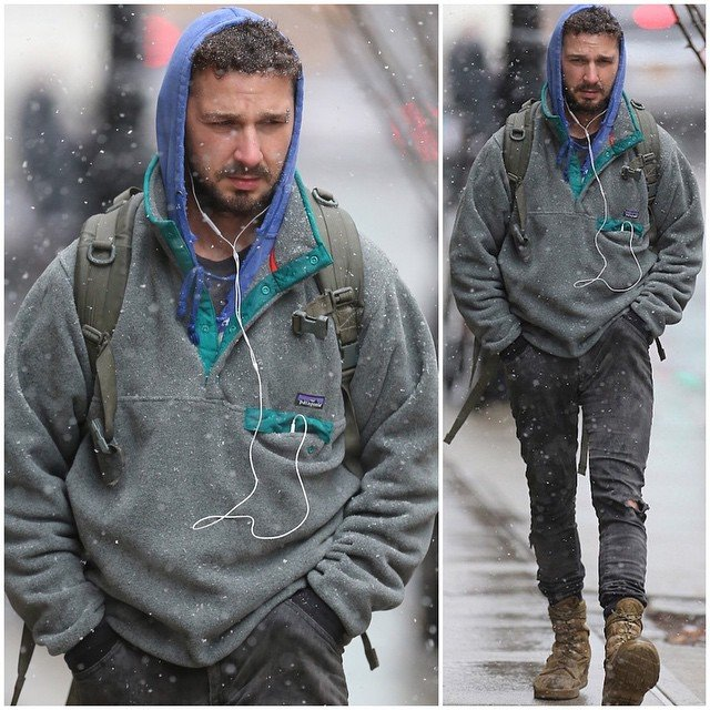 Shia Labeouf in a Patagonia Half-Zip Fleece