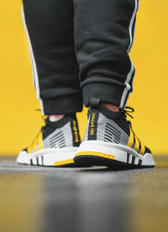 adidas EQT Support Mid ADV in Black / EQT Yellow